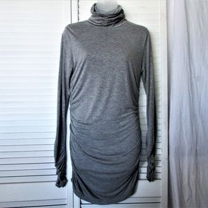 DKNY C gray modal wool ruched sides sleeve dress L